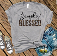 Simply Blessed Leopard Print Tshirt, Inspirational, Faith, Hope