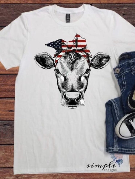 Bandana Patriotic Cow T-shirt, Custom Tees, Tank Tops