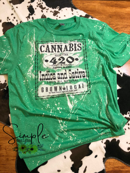 Cannabis 420 T-shirt, Bleached Tees, Distressed Look
