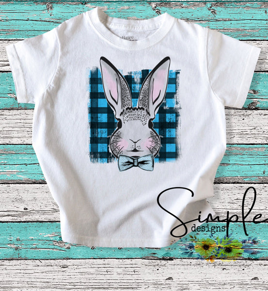 Blue Plaid Bunny Custom Youth, Kids, Onesies, Custom Shirts