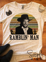 Waylon Jennings Ramblin Man Lyrics T-shirt, Raglan, Music Lyrics