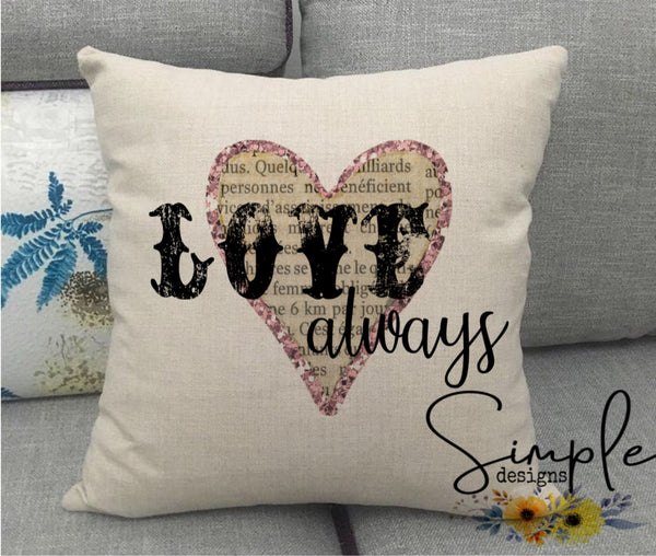 Love Always Valentine's Day Pillow Sham, Decorative Pillow Cases, Throw Pillow