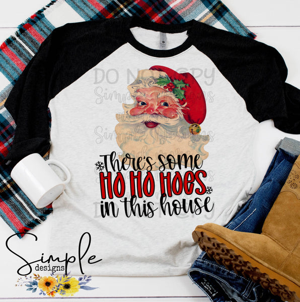 Vintage Santa There's Some Hoes in This House T-shirt, Cute Humor Graphic Tees, Custom Raglans