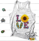 LOVE Flip Flop Sunflower T-shirt, Custom Tees, Tank Tops