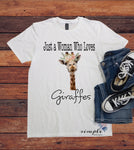 Just a Woman Who Loves Giraffes T-shirt, Wildlife