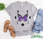 Purple Butterfly and Moon Phases T-shirt, Custom Tees, Tank Tops