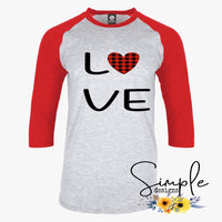 Love Buffalo Plaid Heart T-shirt, Valentines Day, Love Never Fails, Love One Another