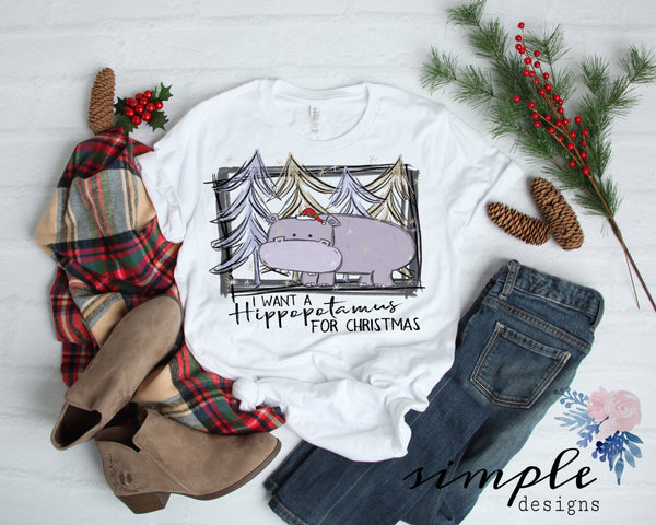 I Want a Hippopotamus for Christmas Shirt, Merry Christmas