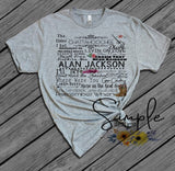 Alan Jackson Lyrics T-shirt, Raglan, Music Lyrics