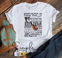 Keith Urban Lyrics T-shirt, Country Music, Western