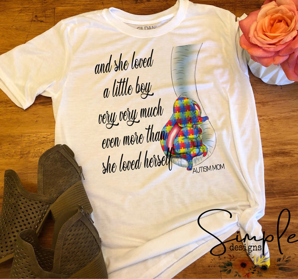 She Loved Him/Her Very Very Much Elephant Autism Awareness T-shirts, Ribbon Awareness