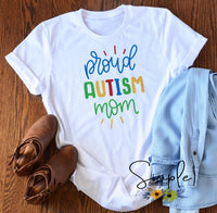 Proud Autism Mom Autism Awareness T-shirts, Ribbon Awareness