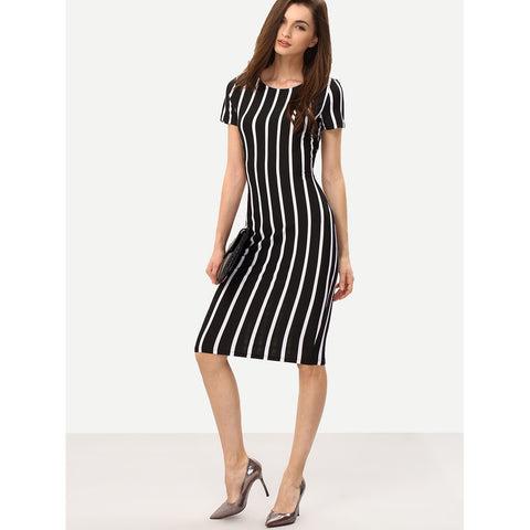 Women s Business Casual Vertical Striped Sheath Dress cc482aab03d11