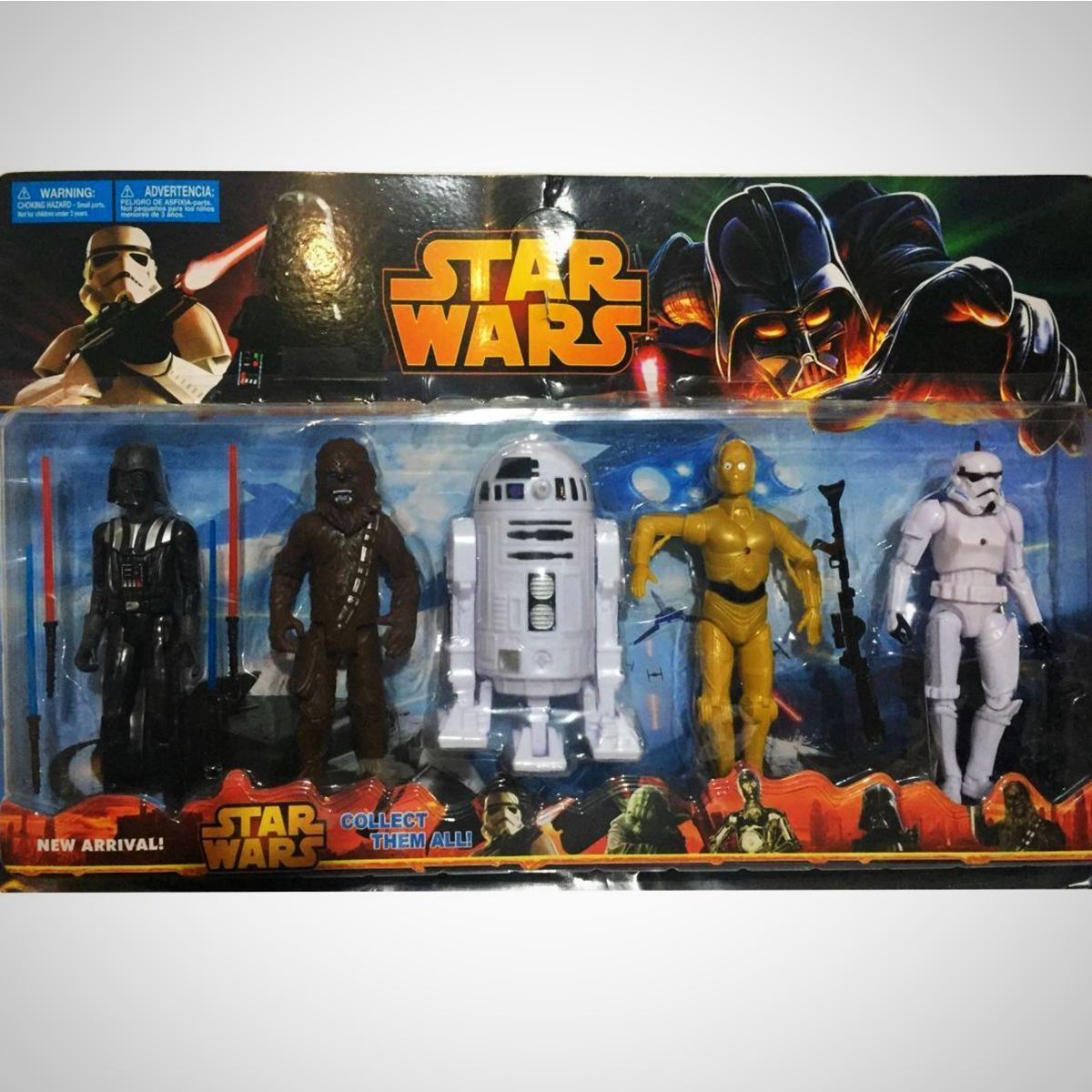 Coleção Star Wars - 5 Personagens - - Action Figures C3Po Cartela Darth Vader Disney My Geek Stock