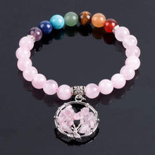 Load image into Gallery viewer, Pink Quartz 7 Chakra Healing Bracelet