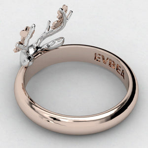TIny Floral Deer Ring