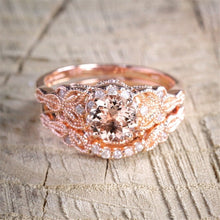 Load image into Gallery viewer, Art Deco Rose Gold Floral Wedding Set