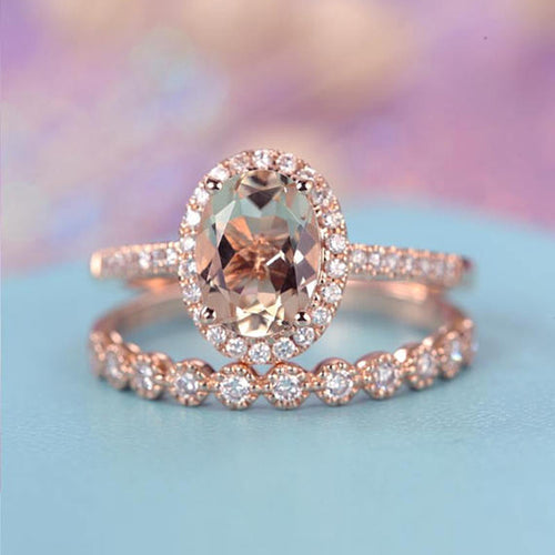 Vintage Inspired Rose Gold Wedding Ring Set