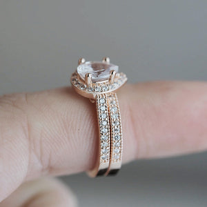 Rose Gold Classic Solitaire Ring Set