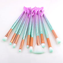 Load image into Gallery viewer, Mermaid Makeup Brushes 10 Piece Set