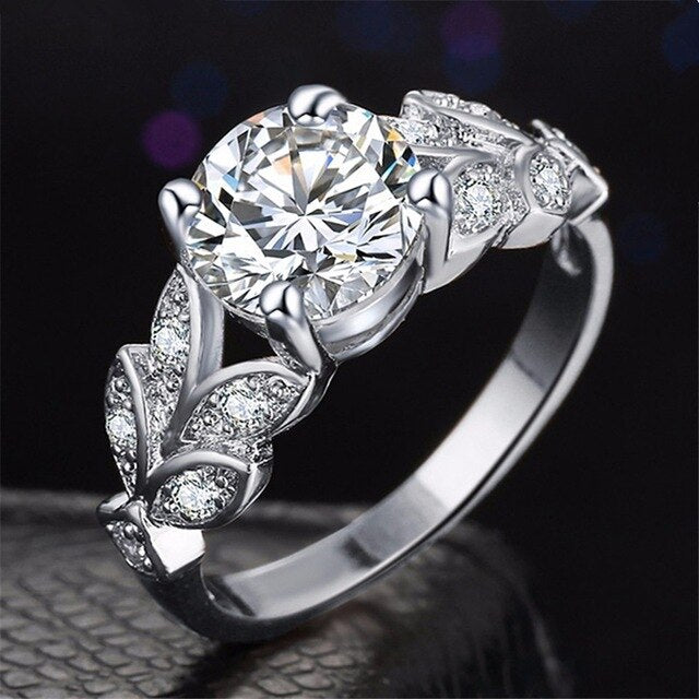 Crystal Leaf Shape Wedding Ring