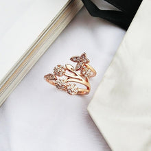 Load image into Gallery viewer, Luxury Crystal Butterfly Tree Ring