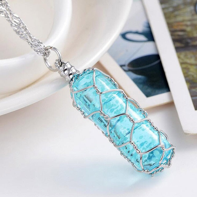 Glowing Groove Crystal Necklace