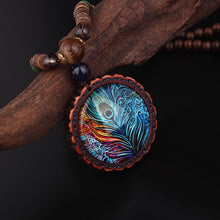 Load image into Gallery viewer, Peacock Feather Necklace
