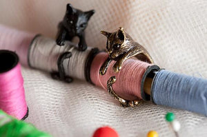 Vintage Handmade Cat Rings