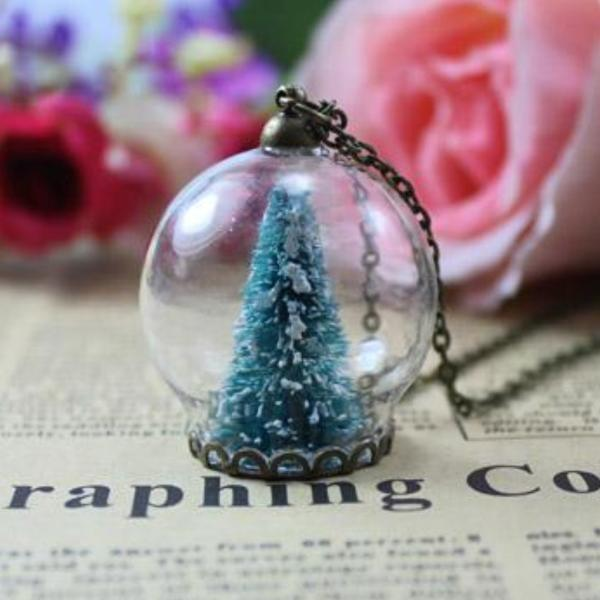 Christmas Tree Snow Globe Necklace