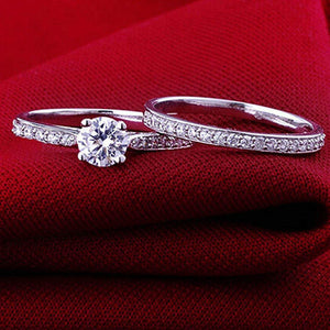 Silver Plated Filagree Wedding Band Set
