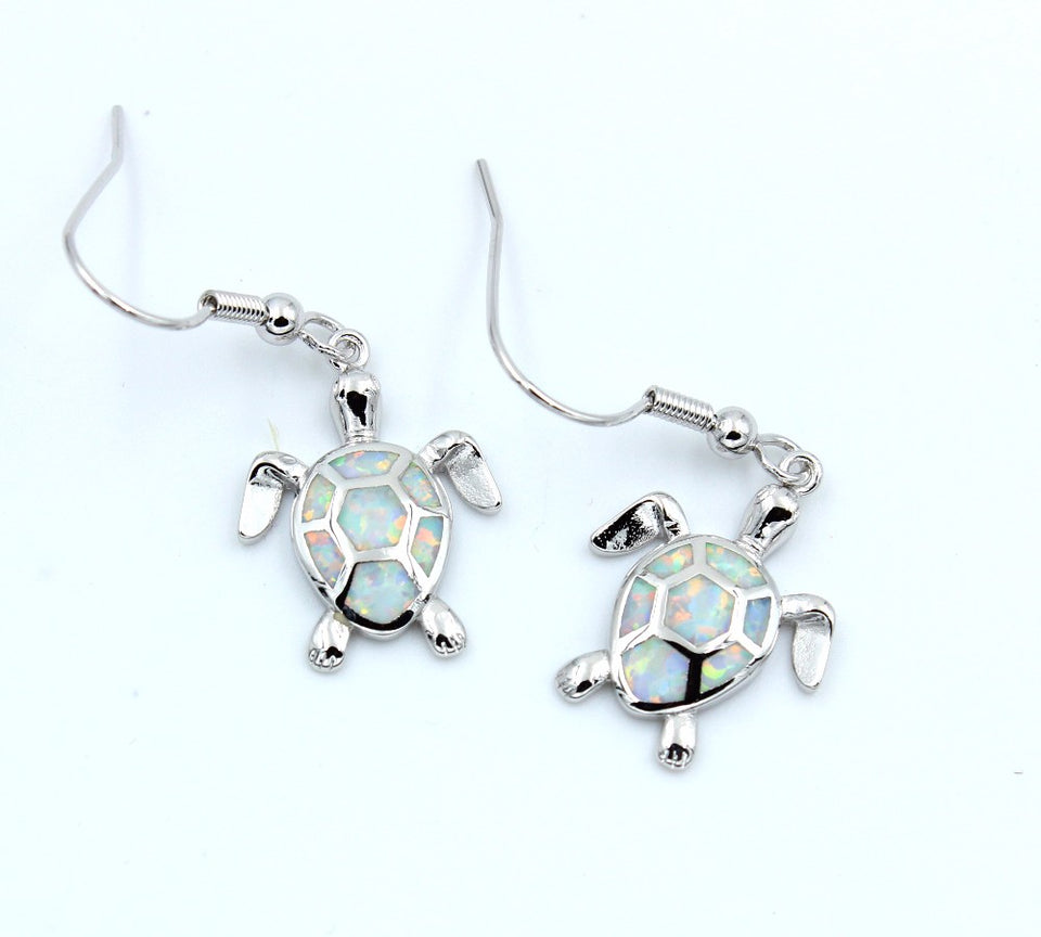 Fire Opal Sea Turtle Earring