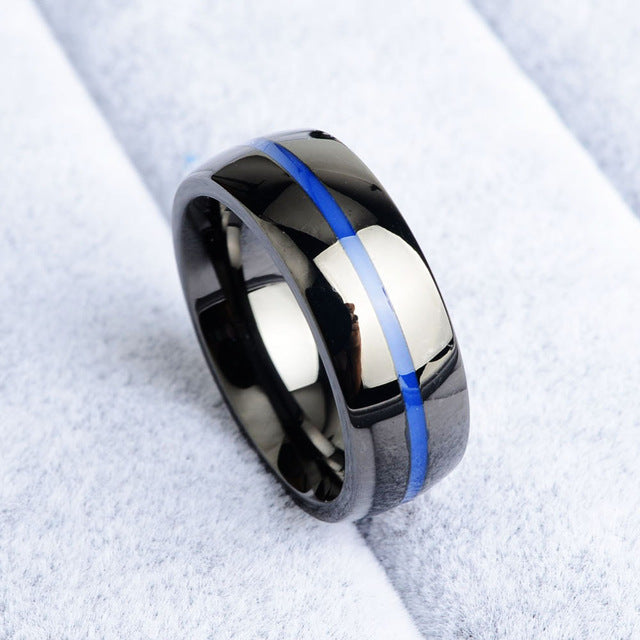 Marines bleu Line Ring