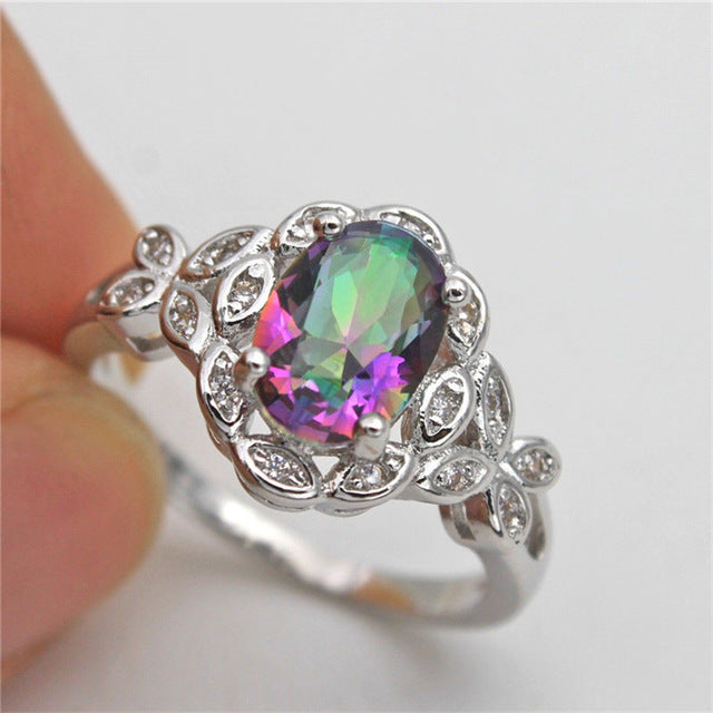 Mystic ring with CZ accents