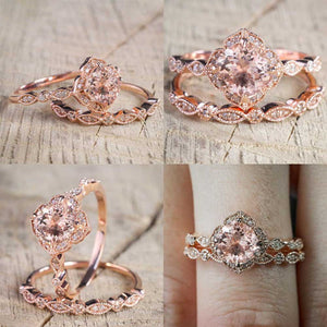 Vintage Rose Gold Engagement Set