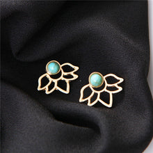 Load image into Gallery viewer, Turquoise Lotus Jacket Earrings