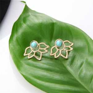 Turquoise Lotus Jacket Earrings
