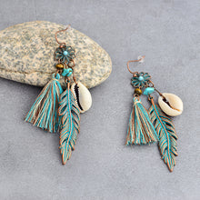 Load image into Gallery viewer, Turquoise Feather Earrings