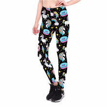 Load image into Gallery viewer, Black Donuts And Unicorns Leggings