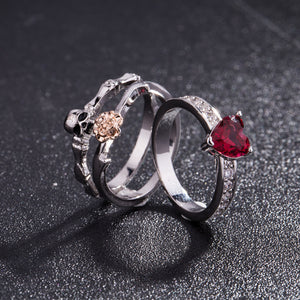 Skull Heart Crystal  Ring Set