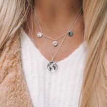 Load image into Gallery viewer, Silver World Map Necklace