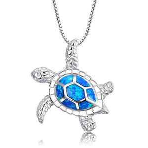 Blue Opal Sea Turtle Pendant Necklace