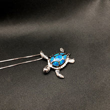 Load image into Gallery viewer, Blue Opal Sea Turtle Pendant Necklace