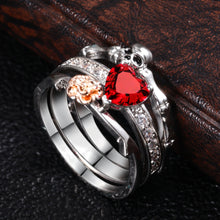Load image into Gallery viewer, Skull Heart Crystal  Ring Set