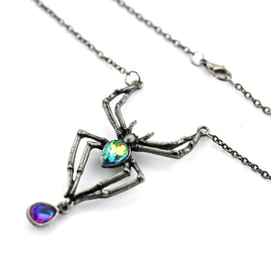 Gothic Crystal Spider Necklace