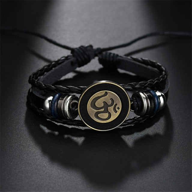 Om Insignia Leather Bracelet