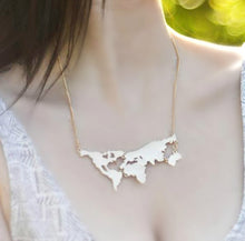 Load image into Gallery viewer, Cute world earth map necklace