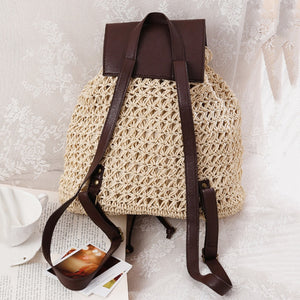 Casual Straw Backpack