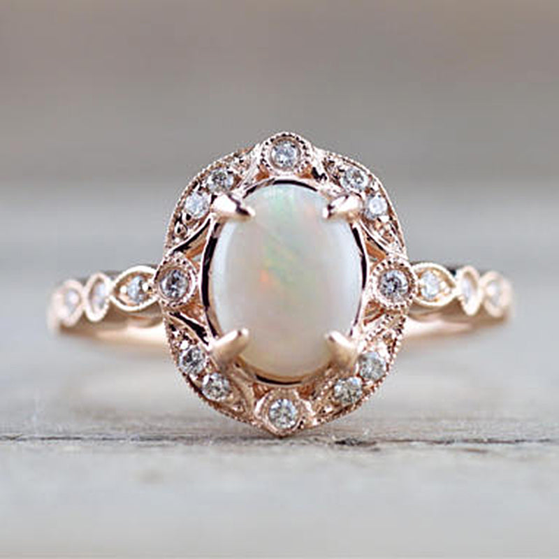 Estate Diamond and Fire Opal Ring