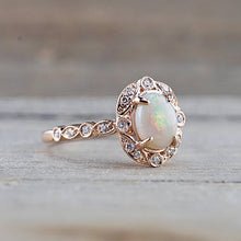 Load image into Gallery viewer, Estate Diamond and Fire Opal Ring